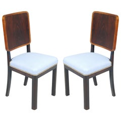 Pair of 1920s Art Deco Italian Side Chairs New Upholstered New Light Blue Fabric