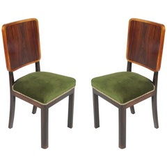 Pair of 1920s Art Deco Side Chairs, in Mahogany Original Green Velvet Upholstery