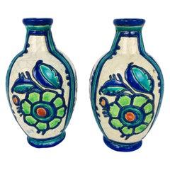 Pair of 1920s Boch Freres Vases, Belgium