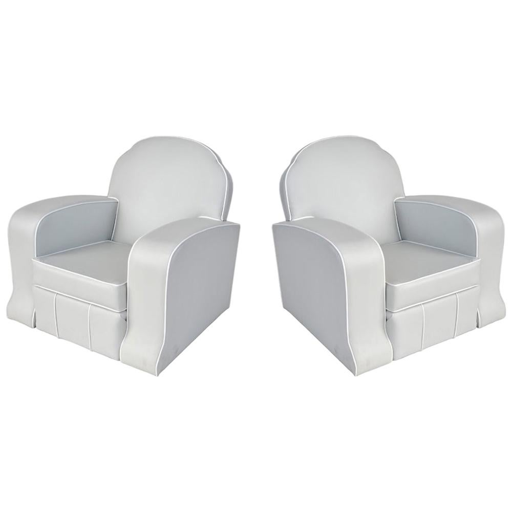 Pair of 1930s Art Deco Club Chairs