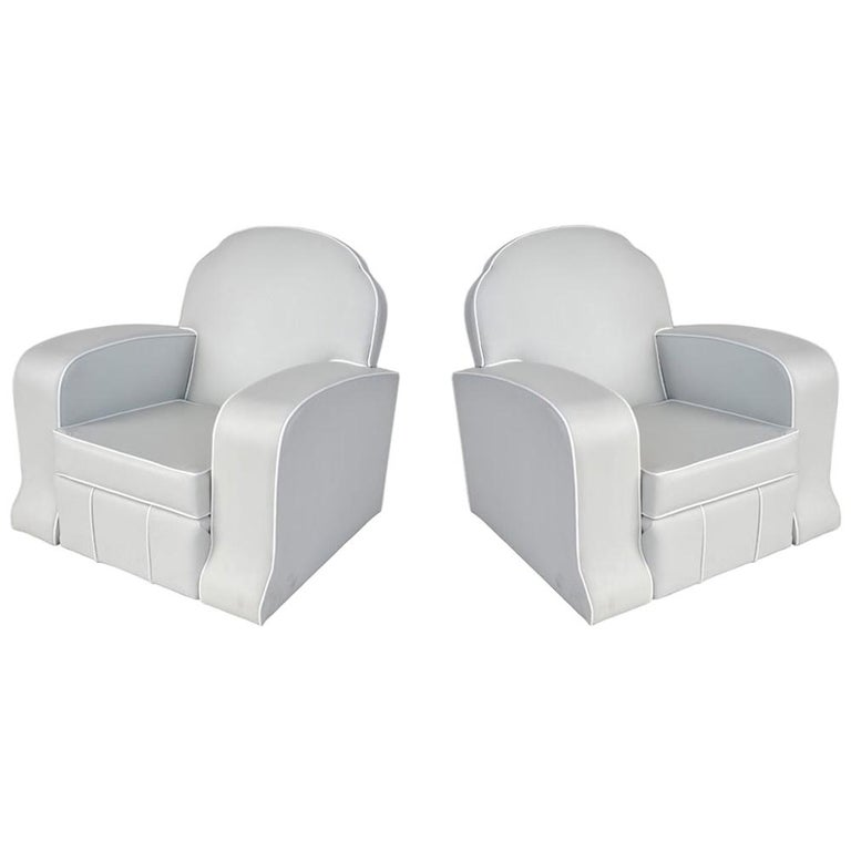 Pair of 1930s Art Deco Club Chairs For Sale