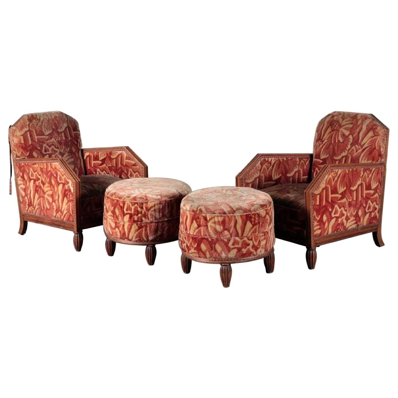 1930s Art Deco Lounge Chairs with Matching Ottomans Manner of Paul Follot, Pair
