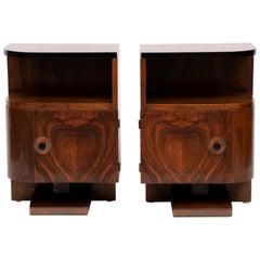 Pair of 1930s Art Deco Walnut Tables Nightstands with Black Lacquered Tops