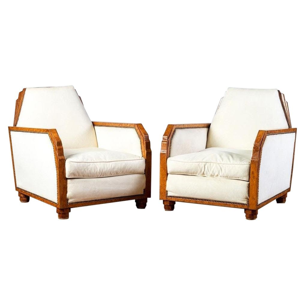 Pair 1930s French Art Deco Club Chairs