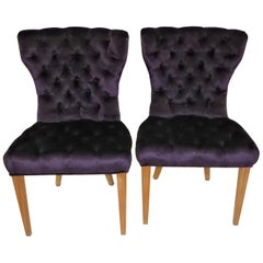 Pair 1930s Royal Purple Velvet Deep Tufted Slipper Chairs