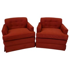 Pair of 1940s Hollywood Glamour Club Chairs in Red Ultrasuede