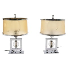 Pair 1940's Machine Age Table Lamps Chrome & Glass, Original Shades & Finials