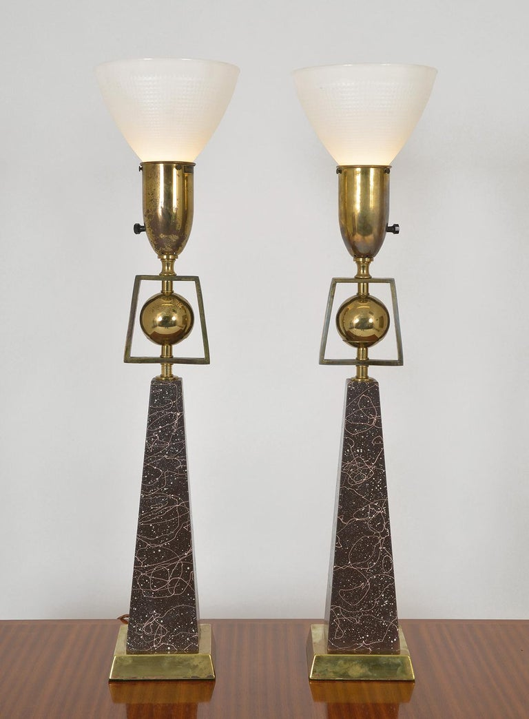 Mid-20th Century Pair of American Mid-Century Modern Obelisk Table Lamps by Rembrandt Lighting For Sale