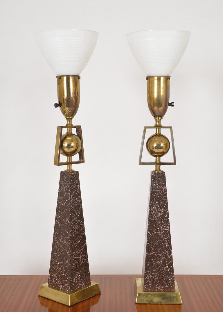 Brass Pair of American Mid-Century Modern Obelisk Table Lamps by Rembrandt Lighting For Sale