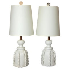 Pair, 1950s Bassanello Italy Blanc de Chine Rope Tassel Lamps