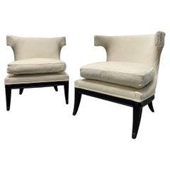 Pair 1950s Decorative Klismos Lounge Chairs
