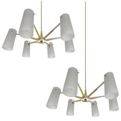 Pair  Italian  Glass Brass Chandeliers Pendant Lights,  Stilnovo Gio Ponti Era