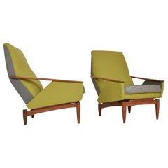 Pair 1950s Italian Upholstered Lounge Chairs Teak Midcentury Modern Ponti Style
