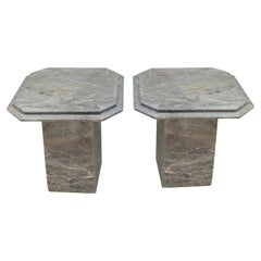 Pair 1950s Mid Century Italian Grey Bevelled Edged Marble Octagonal Side Tables