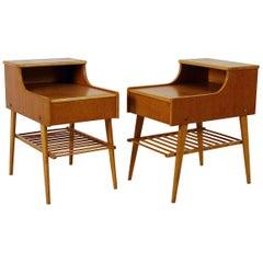 Pair of 1950s Midcentury Modern Swedish Teak Nightstands Bedside Tables