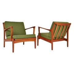 Pair 1950s Scandinavian Midcentury Teak Lounge Easy Chairs by Bertil Fridhagen