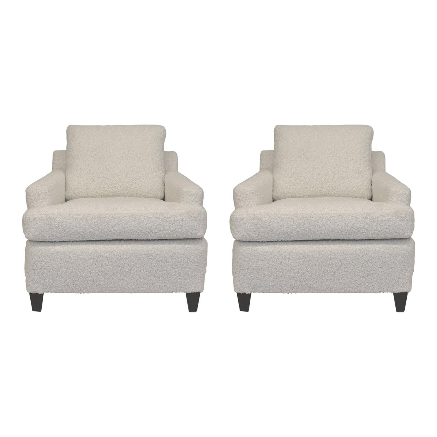 Pair 1950s Wormley Style Club Chairs in Faux Shearling