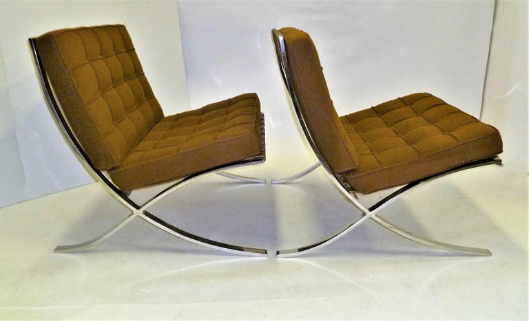 Mid-Century Modern Pair of 1960s Knoll Barcelona Chairs by Mies van der Rohe For Sale