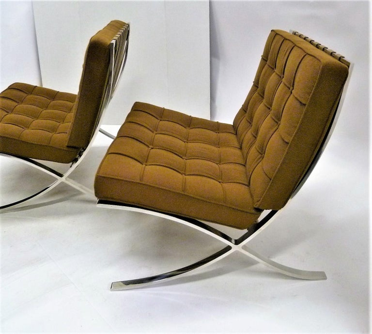 American Pair of 1960s Knoll Barcelona Chairs by Mies van der Rohe For Sale
