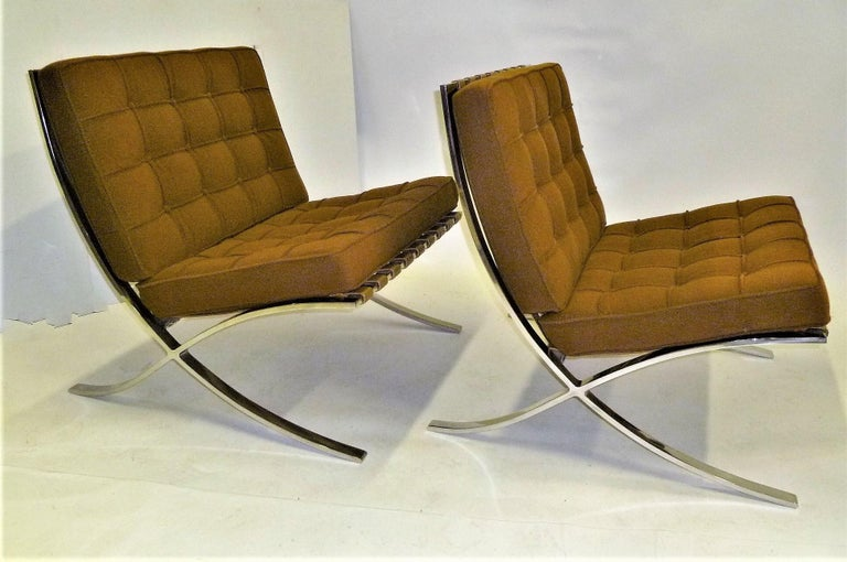 Pair of 1960s Knoll Barcelona Chairs by Mies van der Rohe In Good Condition For Sale In Miami, FL