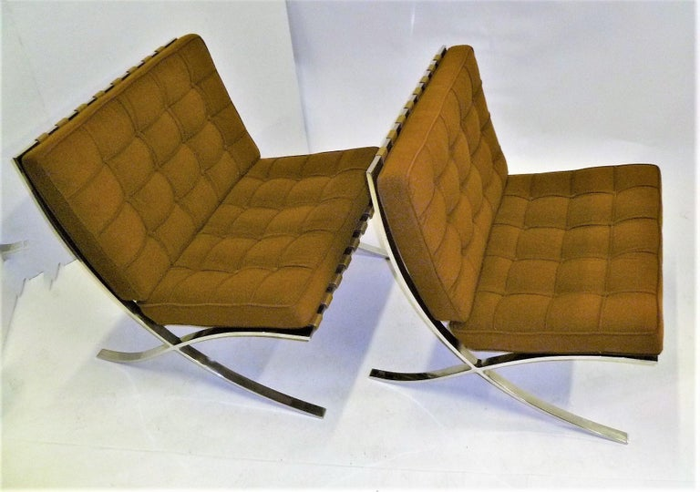 Mid-20th Century Pair of 1960s Knoll Barcelona Chairs by Mies van der Rohe For Sale