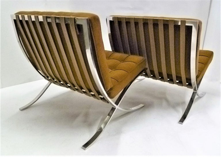 Steel Pair of 1960s Knoll Barcelona Chairs by Mies van der Rohe For Sale