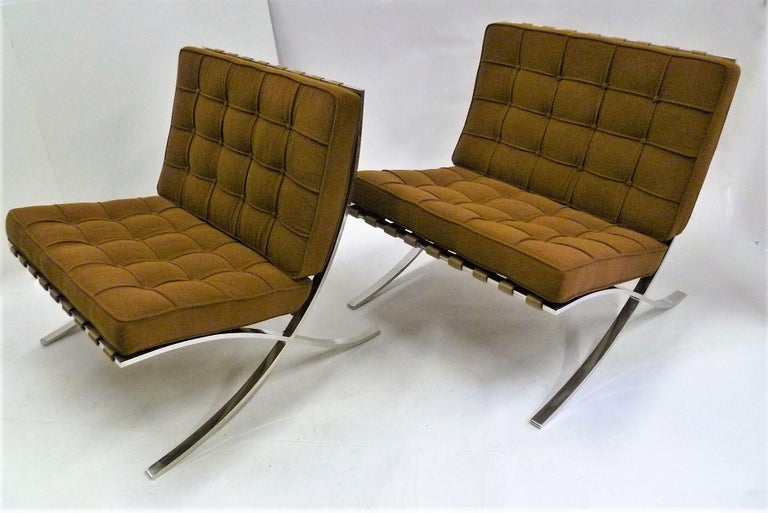 Pair of 1960s Knoll Barcelona Chairs by Mies van der Rohe For Sale 1