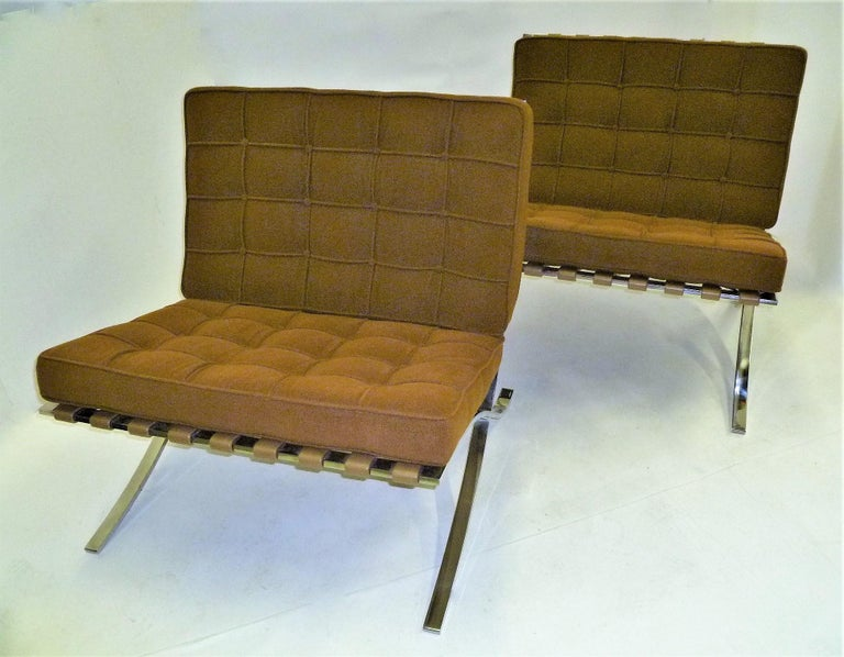 Pair of 1960s Knoll Barcelona Chairs by Mies van der Rohe For Sale 2