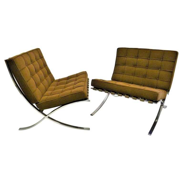 Pair of 1960s Knoll Barcelona Chairs by Mies van der Rohe For Sale