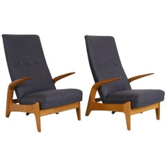 Pair 1960s Midcentury Oak + Grey Rock 'n' Rest Lounge Chairs by Rastad & Relling