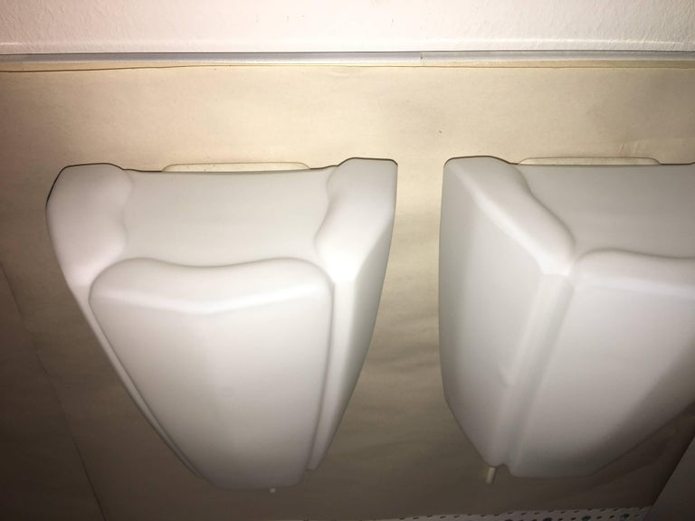 Pair of 1960s Milk Glass Sconces by Limburg Germany In Good Condition For Sale In Frisco, TX