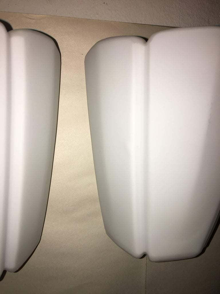 Pair of 1960s Milk Glass Sconces by Limburg Germany For Sale 2