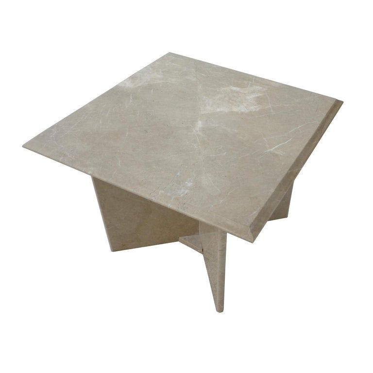 Travertine pedestal side tables 1970s  Square top with an ogee edge. Base consists of 4 slabs that attach into a star configuration.