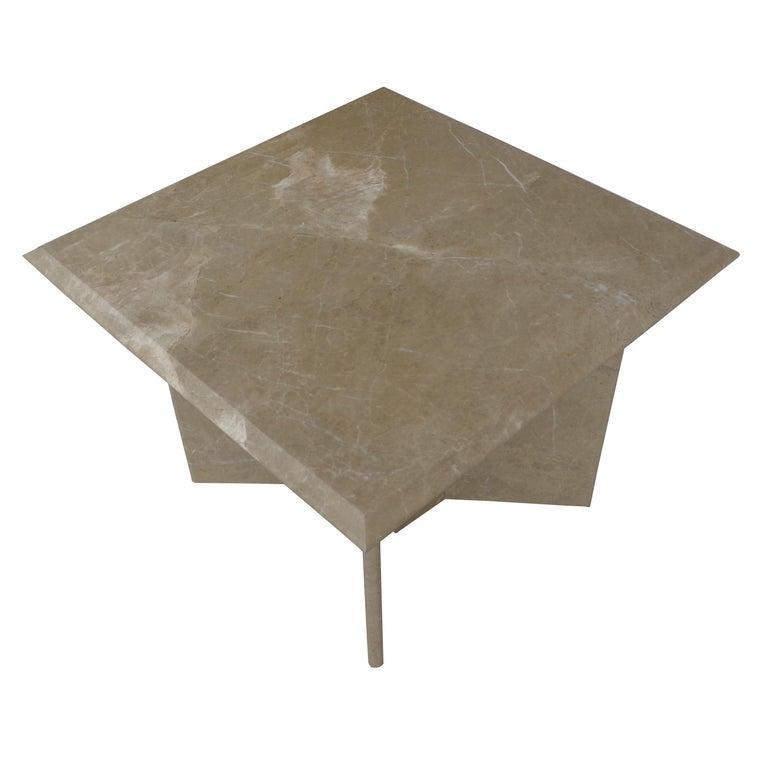 Mid-Century Modern Pair 1970s Italian Travertine Pedestal Side Tables For Sale