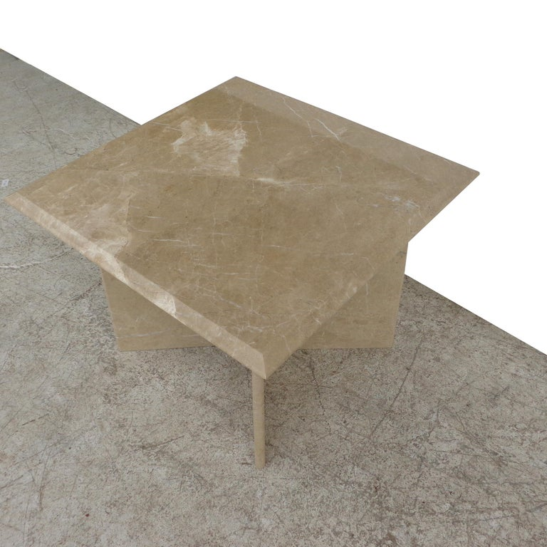 Pair 1970s Italian Travertine Pedestal Side Tables In Good Condition For Sale In Pasadena, TX