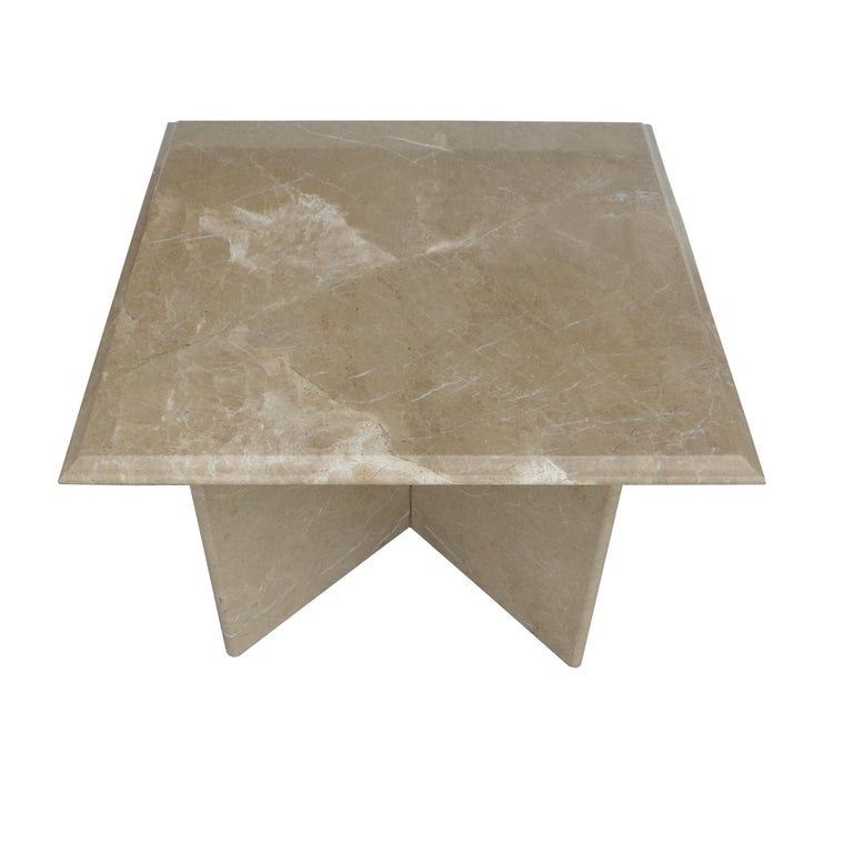 20th Century Pair 1970s Italian Travertine Pedestal Side Tables For Sale