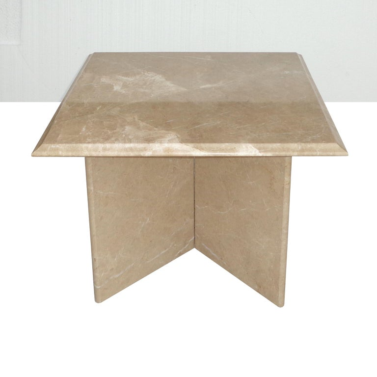 Pair 1970s Italian Travertine Pedestal Side Tables For Sale 1