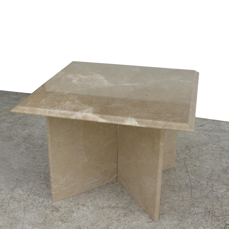 Pair 1970s Italian Travertine Pedestal Side Tables For Sale 2