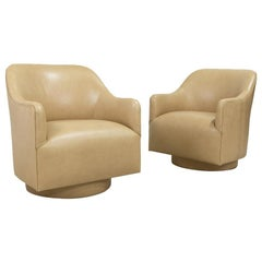 Pair of 1970s Ward Bennett Style Nappa Leather Club Chairs