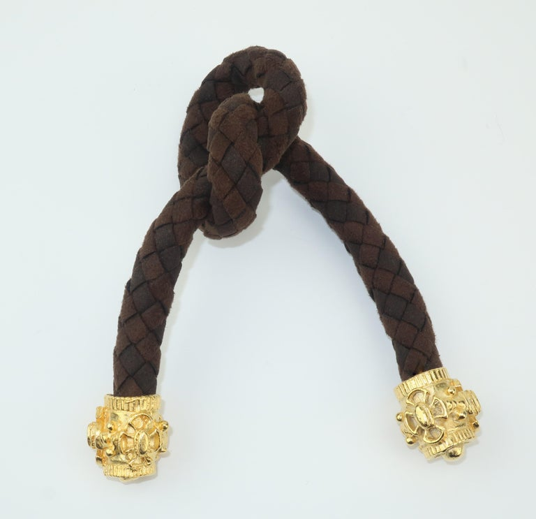 Brown Pair 1980's Gold Tone Embellished Hair Ornaments For Sale