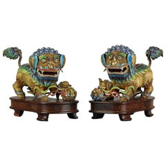 Pair of 19th-20th Century Chinese Silver Enamelled Foo Lions Marked on