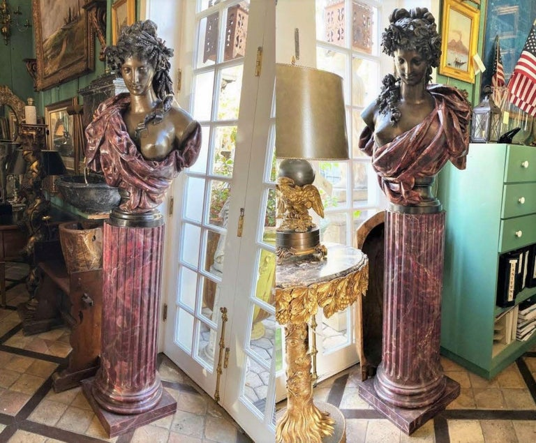 Pair Bust Depicting Summer & Spring Sculptures Statues on Pedestals LA Antiques For Sale 4