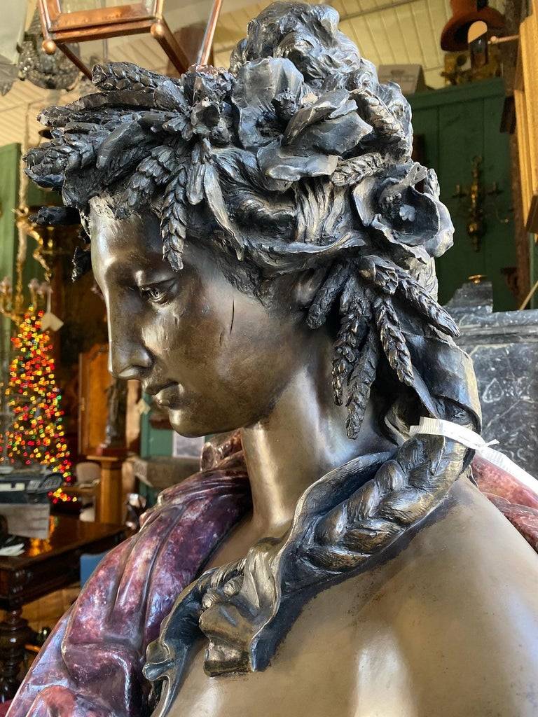 Hand-Crafted Pair Bust Depicting Summer & Spring Sculptures Statues on Pedestals LA Antiques For Sale