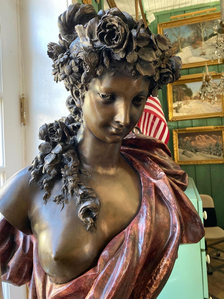 Pair Bust Depicting Summer & Spring Sculptures Statues on Pedestals LA Antiques For Sale 1