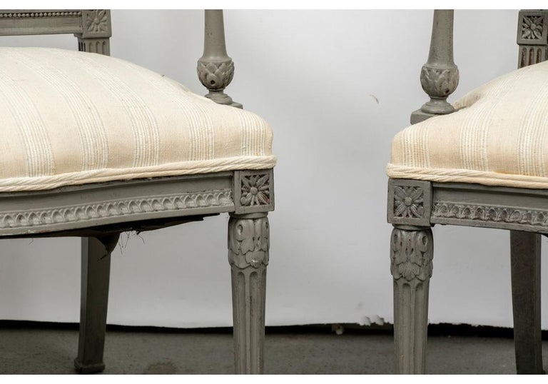 Neoclassical Pair of 19th Century Carved and Paint Decorated Lyre Back Armchairs For Sale