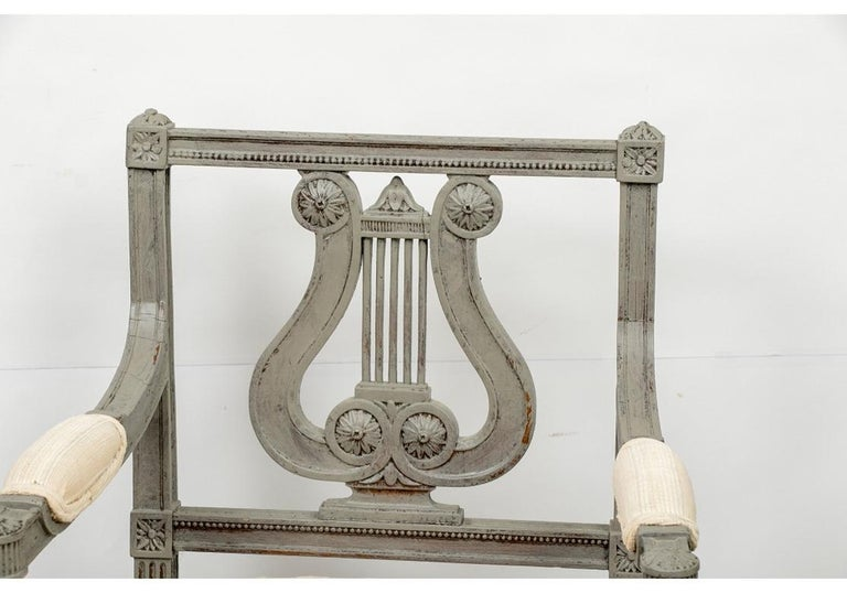 Wood Pair of 19th Century Carved and Paint Decorated Lyre Back Armchairs For Sale