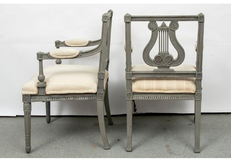 Pair of 19th Century Carved and Paint Decorated Lyre Back Armchairs For Sale 2