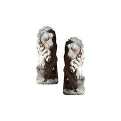Pair 19th c. Composite Lions