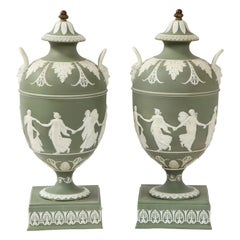 Pair 19th C English Neoclassical Style Olive Ground Covered Wedgwood Vases