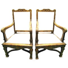 Pair 19th c. Giltwood Chairs